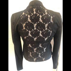 INC black lace moto asymmetrical Jacket